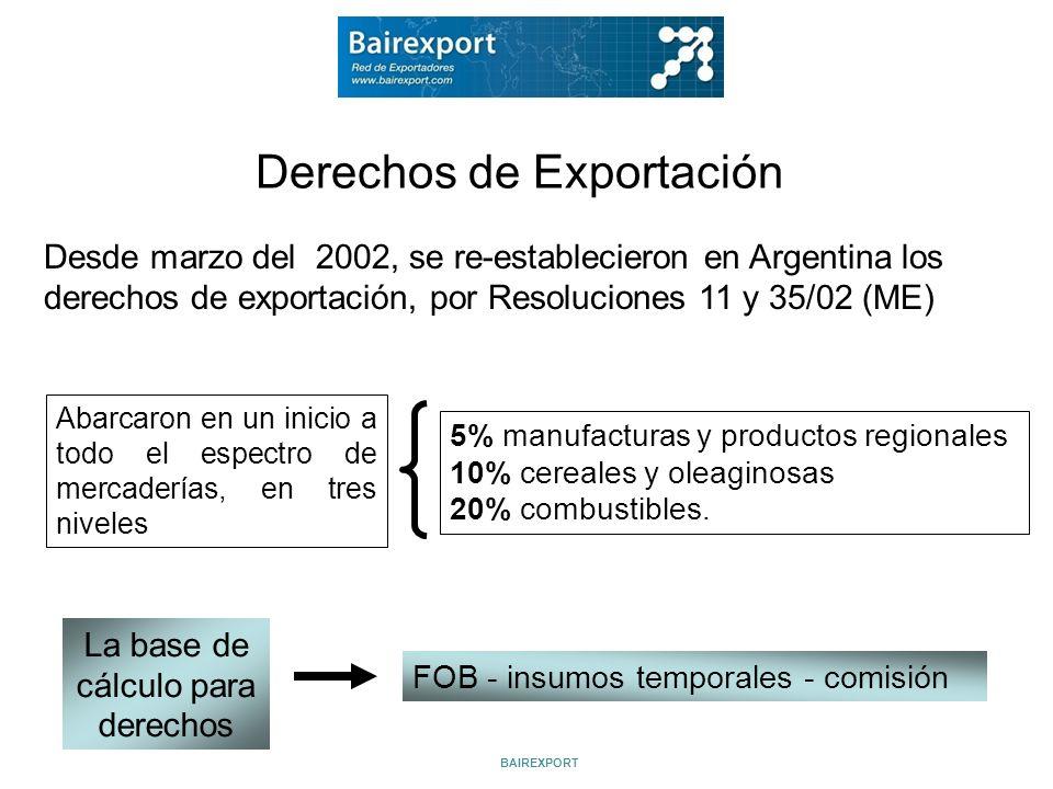 Derechos de Exportación Desde marzo del 2002, se re-establecieron en Argentina los derechos de exportación, por Resoluciones 11 y 35/02 (ME) Abarcaron
