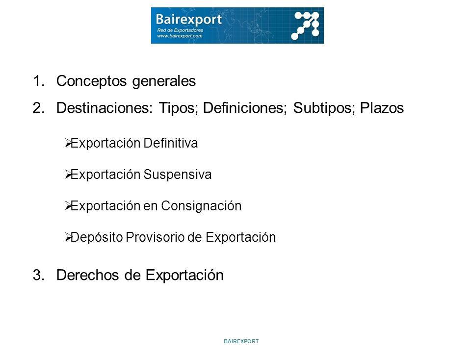 1.Conceptos generales 2.Destinaciones: Tipos; Definiciones; Subtipos; Plazos 3.Derechos de Exportación Exportación Definitiva Exportación Suspensiva E