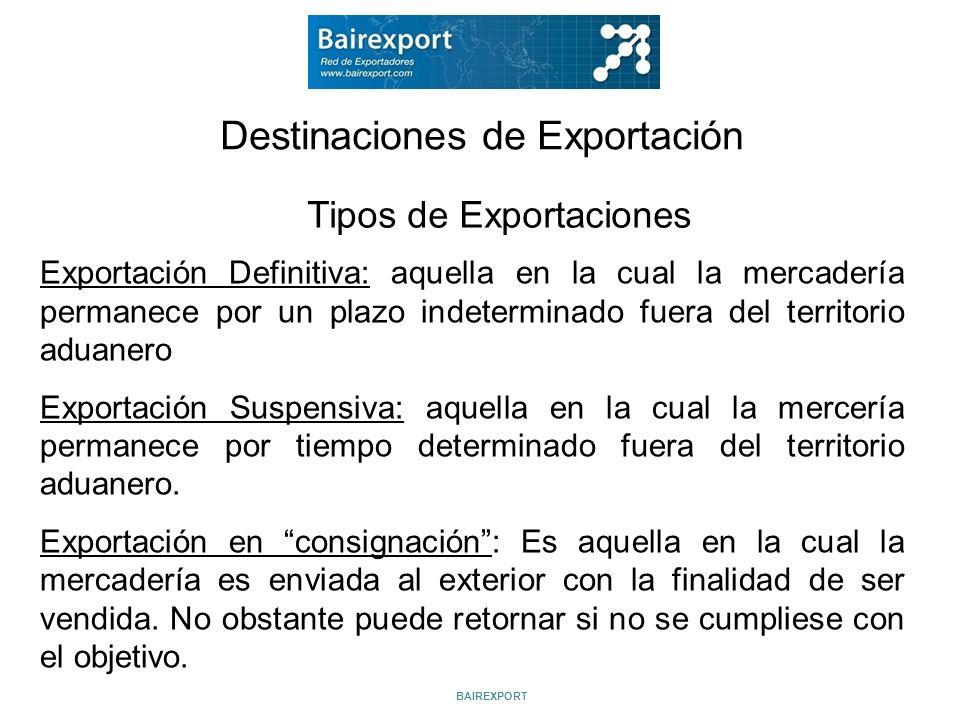 Destinaciones de Exportación Tipos de Exportaciones Exportación Definitiva: aquella en la cual la mercadería permanece por un plazo indeterminado fuer