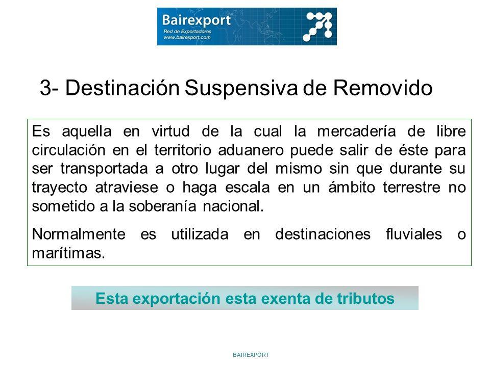 3- Destinación Suspensiva de Removido Es aquella en virtud de la cual la mercadería de libre circulación en el territorio aduanero puede salir de éste