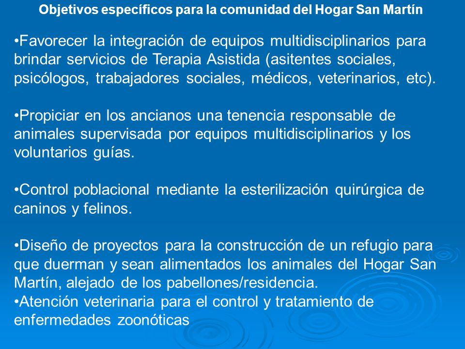 Objetivos específicos para la comunidad del Hogar San Martín Favorecer la integración de equipos multidisciplinarios para brindar servicios de Terapia Asistida (asitentes sociales, psicólogos, trabajadores sociales, médicos, veterinarios, etc).
