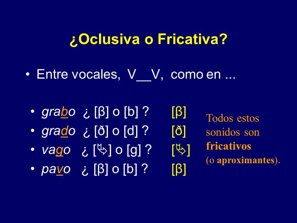 Distribución de Fricativas y Oclusivas en Español En las siguientes imágenes, Ud. tendrá la oportunidad de responder a una pregunta fricativa u oclusi