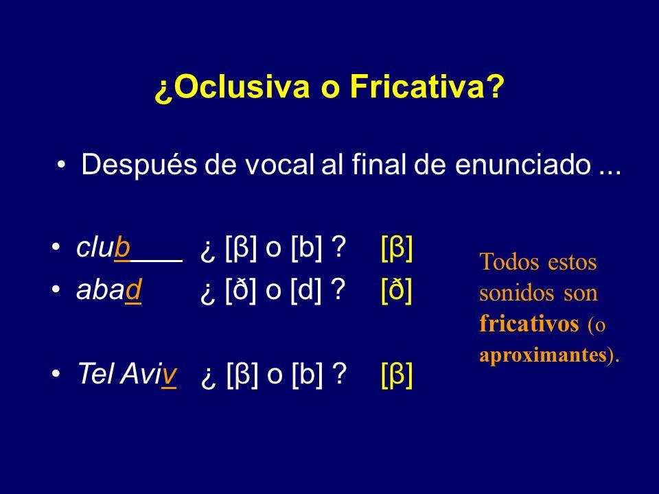 ¿Oclusiva o Fricativa? Entre vocales, V__V, como en... [β] [β] [ð] [ð] [ ] [β] [β] grabo ¿ [β] o [b] ? grado ¿ [ð] o [d] ? vago ¿ [ ] o [g] ? pavo ¿ [