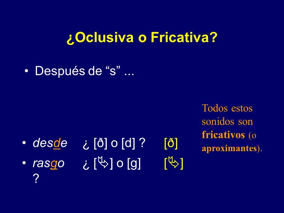 ¿Oclusiva o Fricativa? Después de r... [β] [β] [β] [β] [β] [ð] [ð] [ ] barba¿ [β] o [b] ? larva¿ [β] o [b] ? verbal ¿ [β] o [b] ? arde ¿ [ð] o [d] ? c