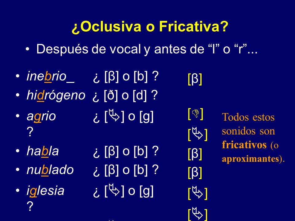 ¿Oclusiva o Fricativa? Después de s... [ð] [ð] [ ] desde ¿ [ð] o [d] ? rasgo ¿ [ ] o [g] ? Todos estos sonidos son fricativos (o aproximantes).