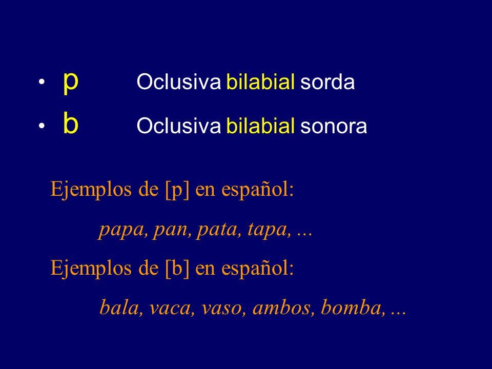 p Oclusiva bilabial sorda b Oclusiva bilabial sonora Ejemplos de [p] en español: papa, pan, pata, tapa,...