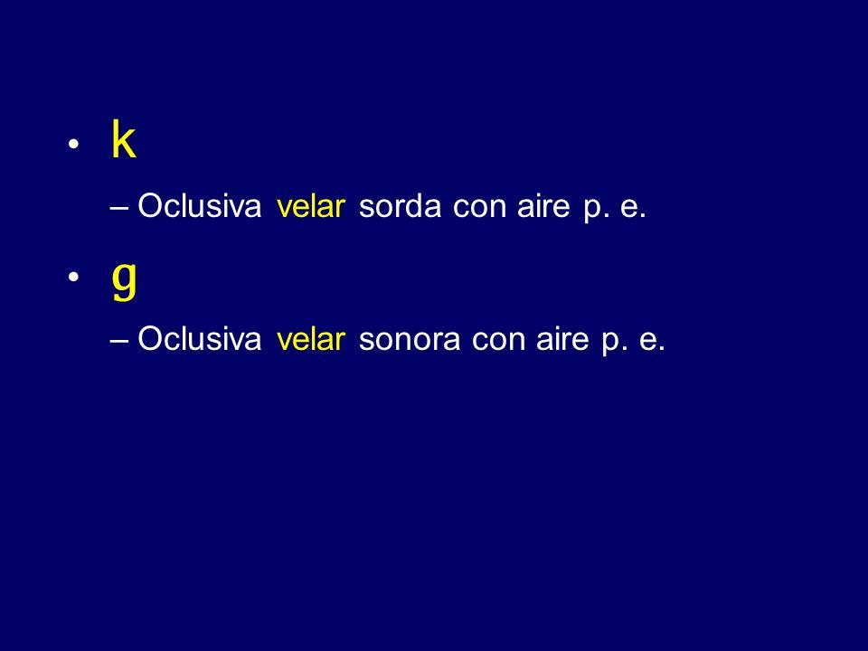k –Oclusiva velar sorda con aire p. e. ɡ –Oclusiva velar sonora con aire p. e.