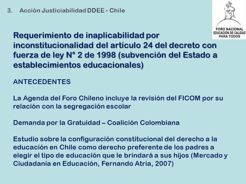 Requerimiento de inaplicabilidad por inconstitucionalidad del artículo 24 del decreto con fuerza de ley N° 2 de 1998 (subvención del Estado a establec