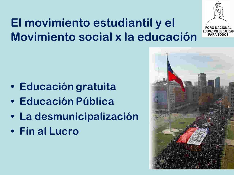 El movimiento estudiantil y el Movimiento social x la educación Educación gratuita Educación Pública La desmunicipalización Fin al Lucro