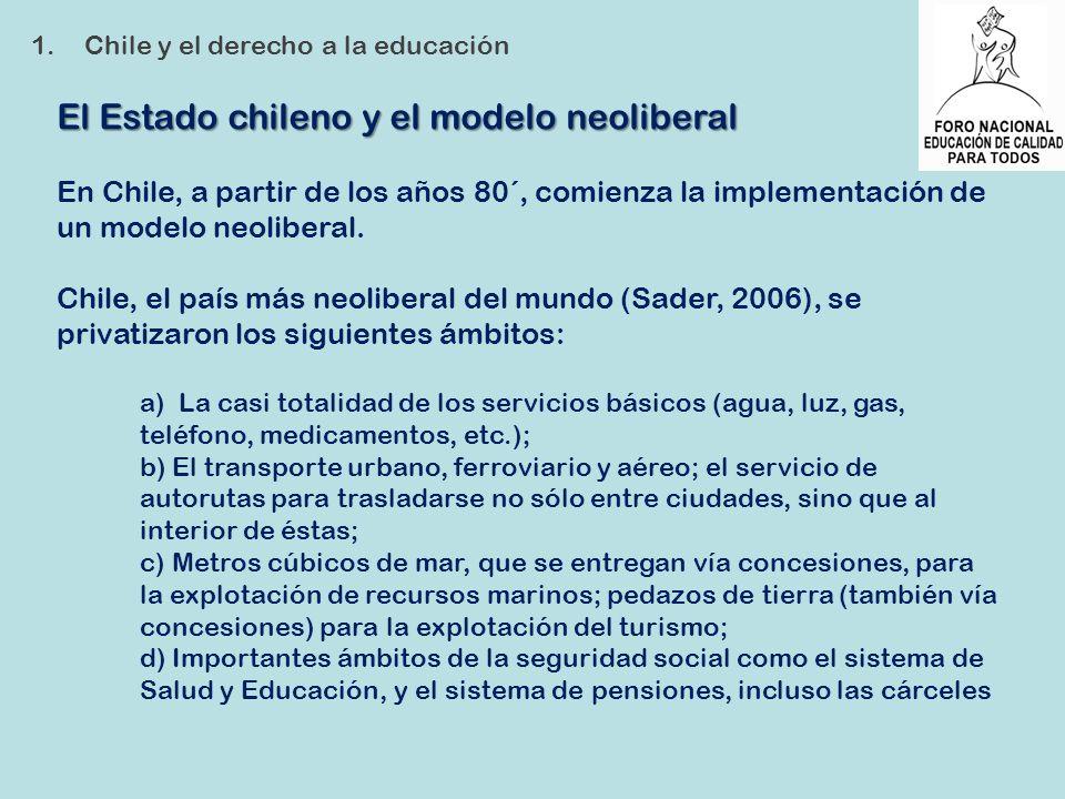 El Estado chileno y el modelo neoliberal En Chile, a partir de los años 80´, comienza la implementación de un modelo neoliberal. Chile, el país más ne