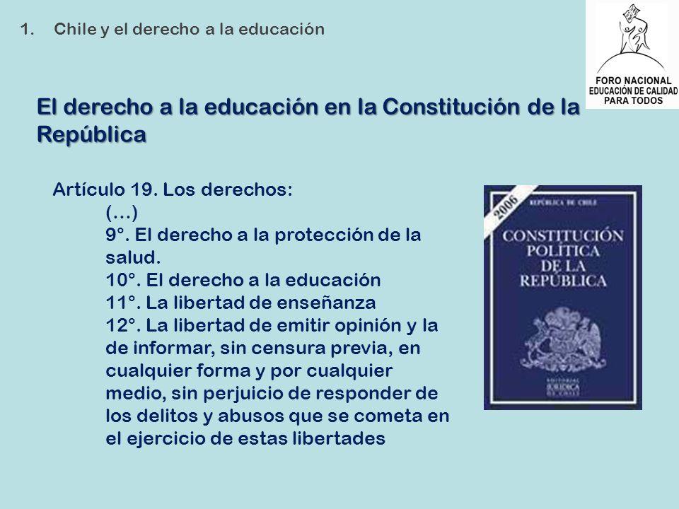 El derecho a la educación en la Constitución de la República 1.Chile y el derecho a la educación Artículo 19. Los derechos: (…) 9°. El derecho a la pr