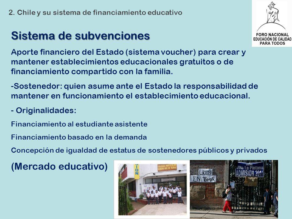 Sistema de subvenciones Aporte financiero del Estado (sistema voucher) para crear y mantener establecimientos educacionales gratuitos o de financiamie