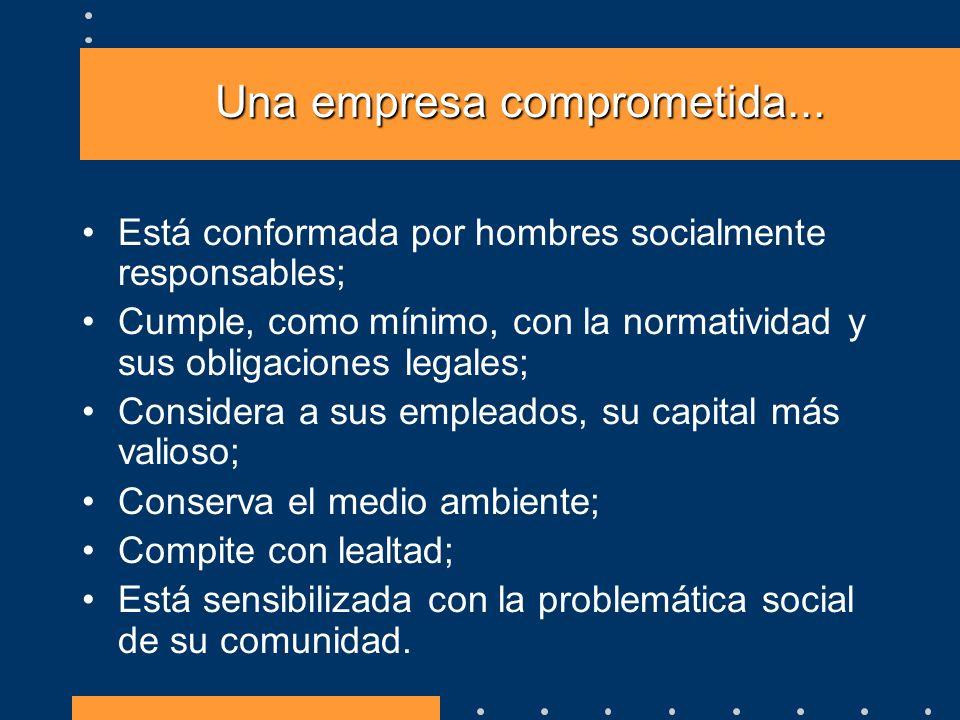 Una empresa comprometida... Está conformada por hombres socialmente responsables; Cumple, como mínimo, con la normatividad y sus obligaciones legales;