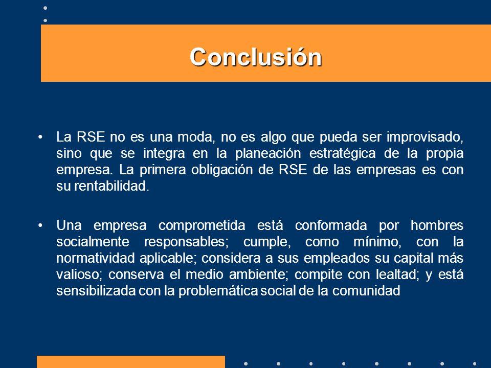 La RSE no es una moda, no es algo que pueda ser improvisado, sino que se integra en la planeación estratégica de la propia empresa. La primera obligac