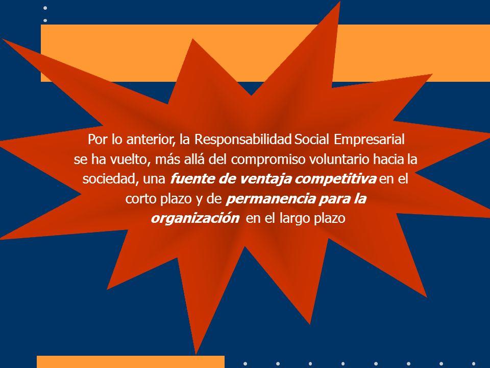 Por lo anterior, la Responsabilidad Social Empresarial se ha vuelto, más allá del compromiso voluntario hacia la sociedad, una fuente de ventaja compe