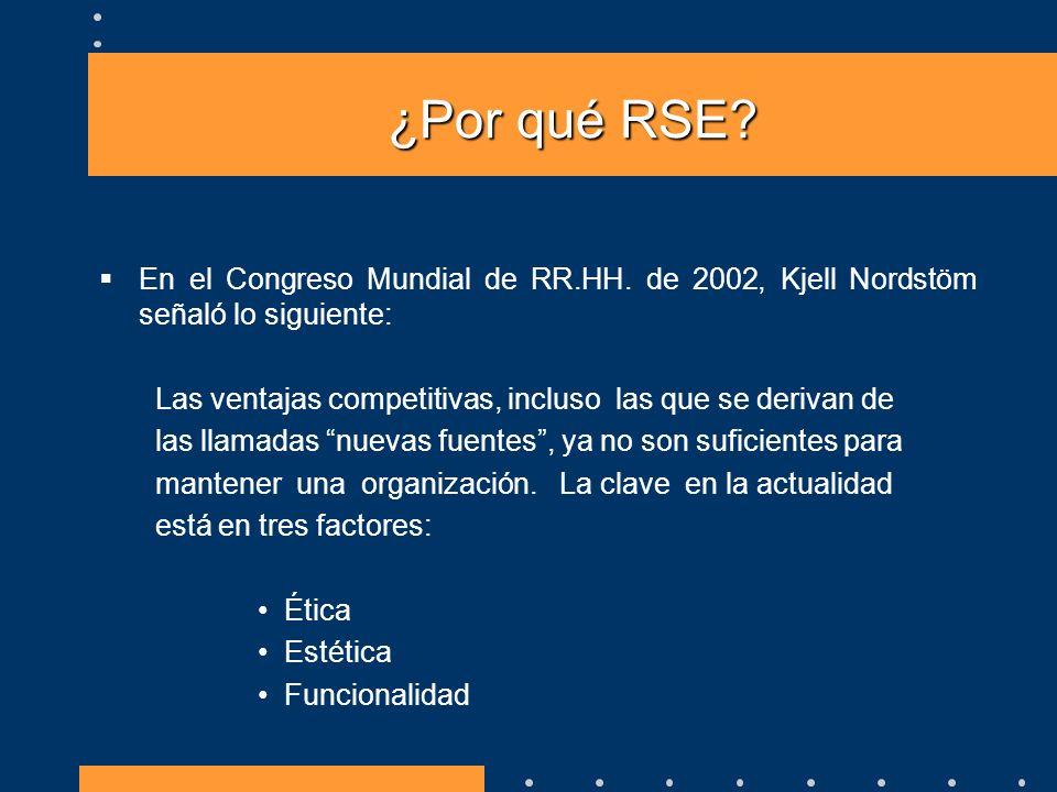 ¿Por qué RSE? En el Congreso Mundial de RR.HH. de 2002, Kjell Nordstöm señaló lo siguiente: Las ventajas competitivas, incluso las que se derivan de l