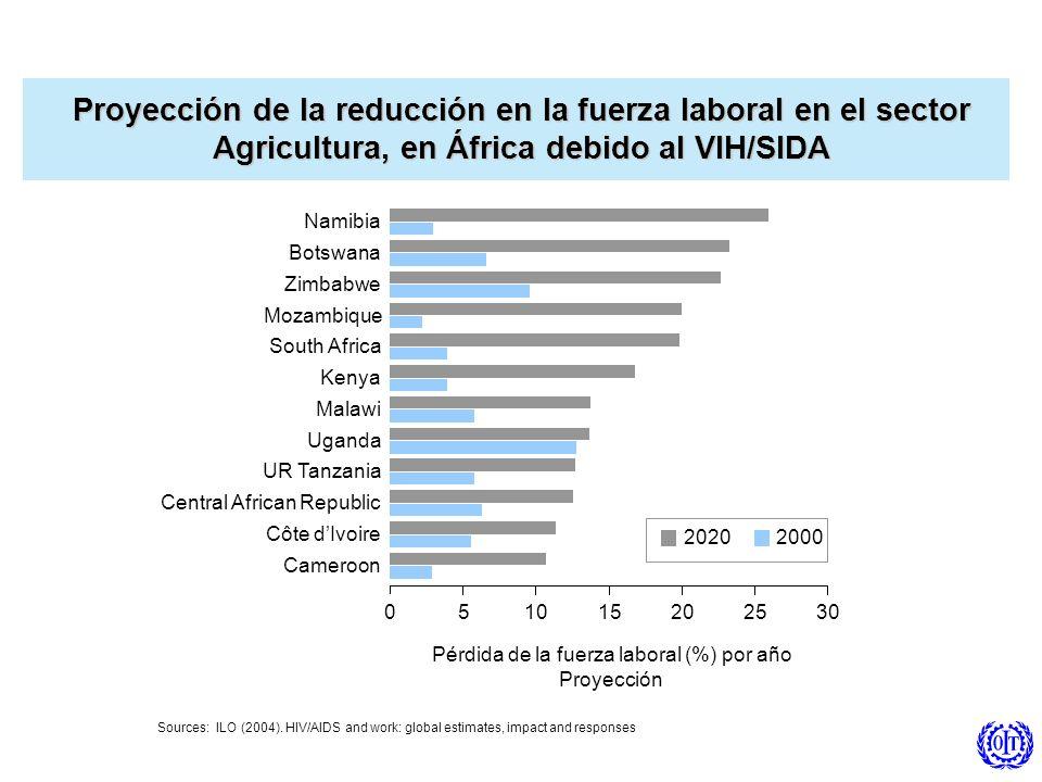 Proyección de la reducción en la fuerza laboral en el sector Agricultura, en África debido al VIH/SIDA Sources: ILO (2004). HIV/AIDS and work: global