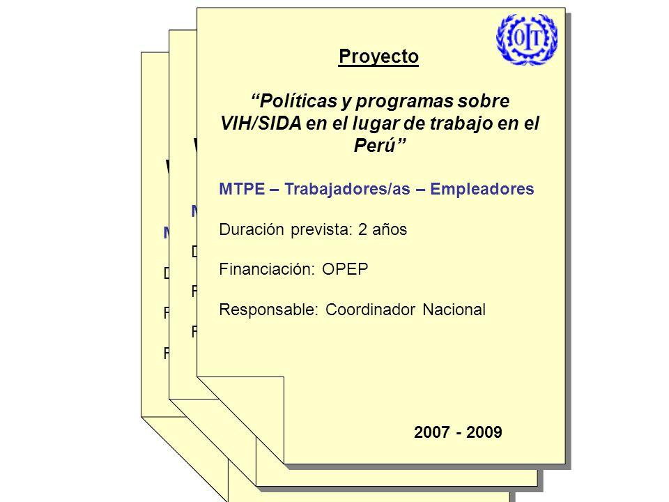 Proyecto Políticas y programas sobre VIH/SIDA en el lugar de trabajo en el Perú MTPE – Trabajadores/as – Empleadores Duración previsible: 2 años Finan