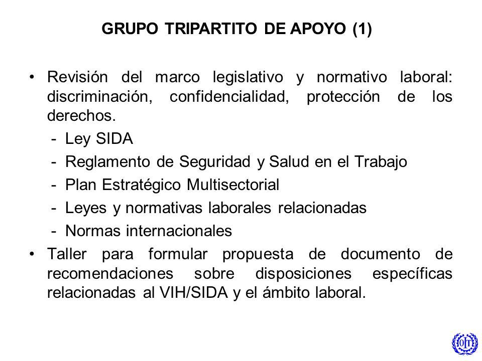 GRUPO TRIPARTITO DE APOYO (1) Revisión del marco legislativo y normativo laboral: discriminación, confidencialidad, protección de los derechos. - Ley
