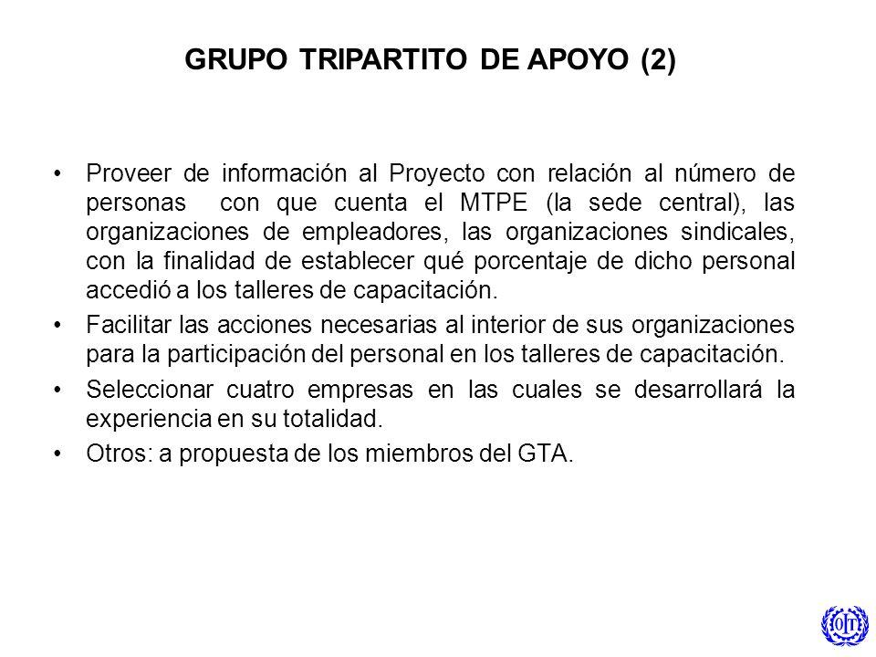 Proveer de información al Proyecto con relación al número de personas con que cuenta el MTPE (la sede central), las organizaciones de empleadores, las