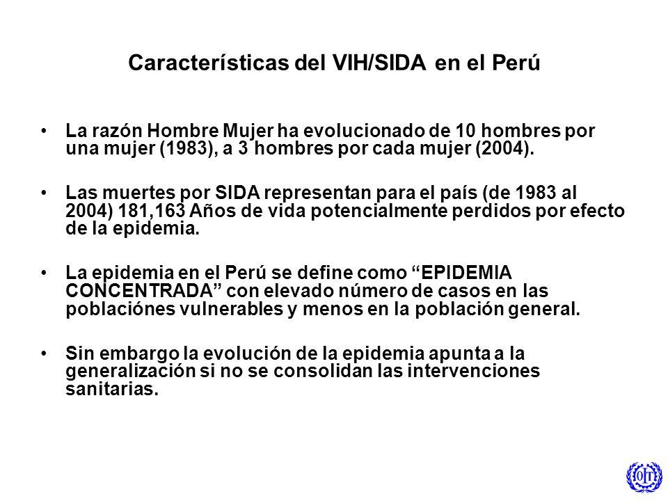 Características del VIH/SIDA en el Perú La razón Hombre Mujer ha evolucionado de 10 hombres por una mujer (1983), a 3 hombres por cada mujer (2004). L