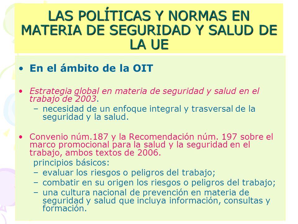 LAS POLÍTICAS Y NORMAS EN MATERIA DE SEGURIDAD Y SALUD DE LA UE En el ámbito de la OIT Estrategia global en materia de seguridad y salud en el trabajo de 2003.