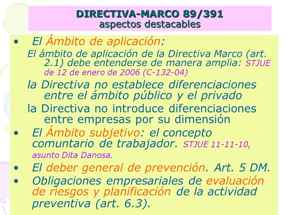DIRECTIVA-MARCO 89/391 aspectos destacables El Ámbito de aplicación: El ámbito de aplicación de la Directiva Marco (art.