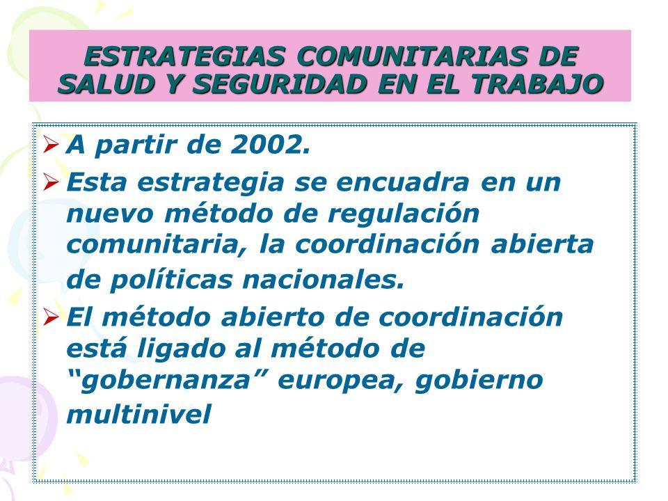 ESTRATEGIAS COMUNITARIAS DE SALUD Y SEGURIDAD EN EL TRABAJO A partir de 2002.