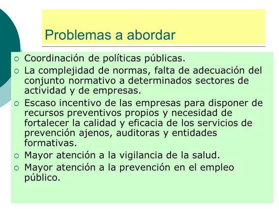 Problemas a abordar Coordinación de políticas públicas.