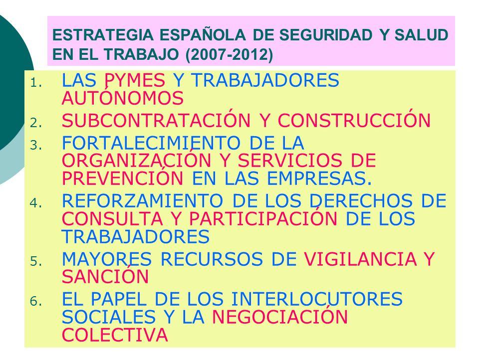 ESTRATEGIA ESPAÑOLA DE SEGURIDAD Y SALUD EN EL TRABAJO (2007-2012) 1.