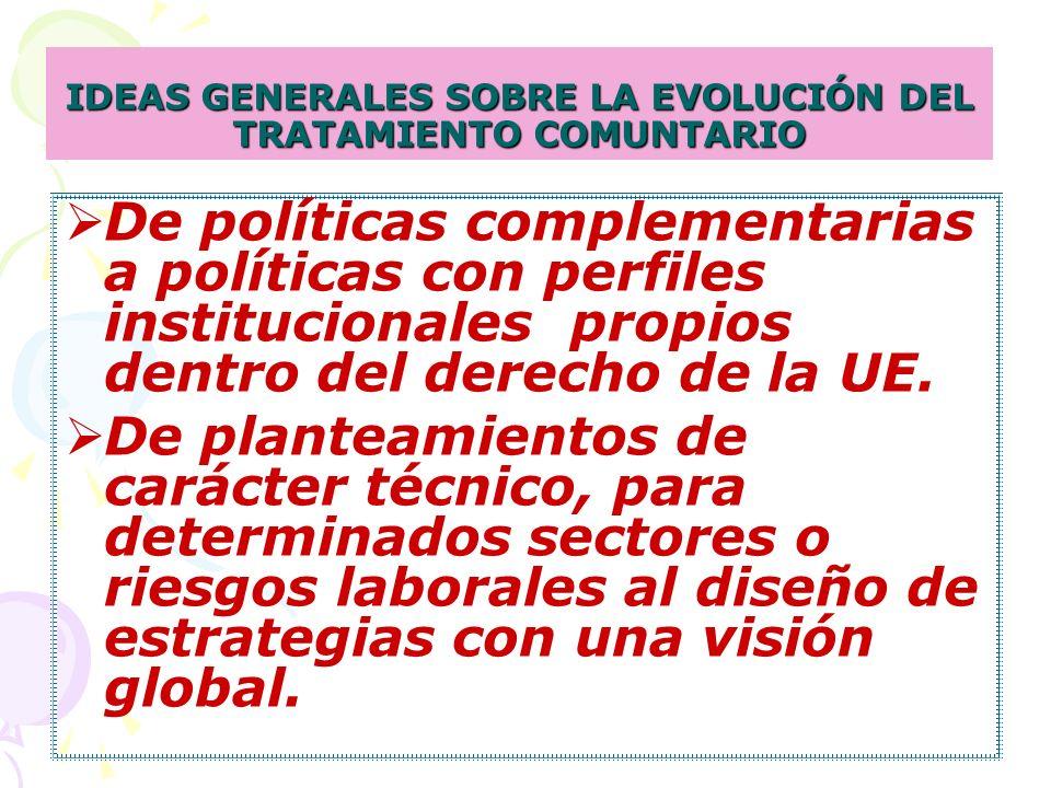 IDEAS GENERALES SOBRE LA EVOLUCIÓN DEL TRATAMIENTO COMUNTARIO De políticas complementarias a políticas con perfiles institucionales propios dentro del derecho de la UE.