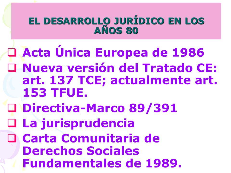 Acta Única Europea de 1986 Nueva versión del Tratado CE: art.