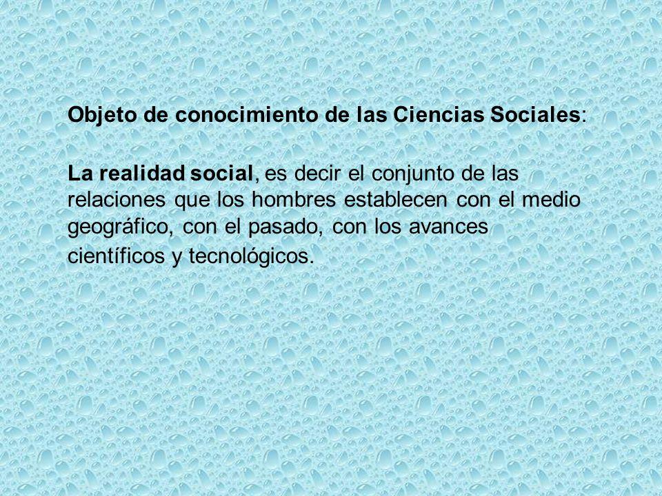 Objeto de conocimiento de las Ciencias Sociales: La realidad social, es decir el conjunto de las relaciones que los hombres establecen con el medio geográfico, con el pasado, con los avances científicos y tecnológicos.