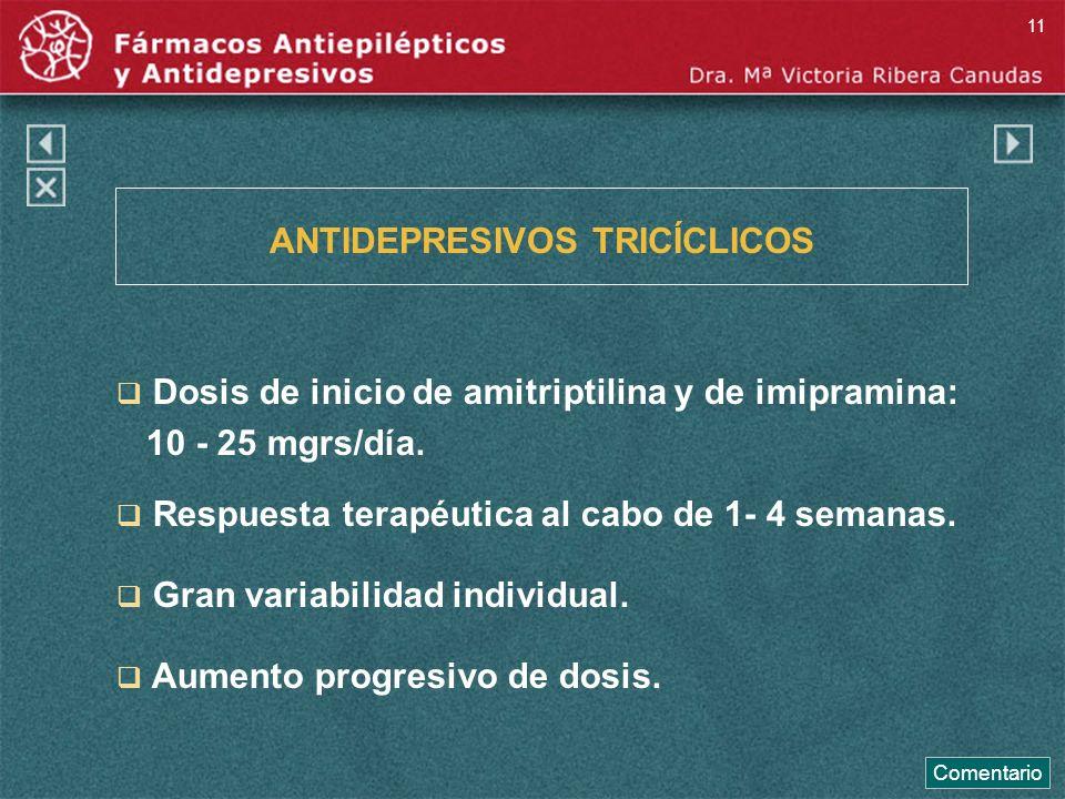 ANTIDEPRESIVOS TRICÍCLICOS Dosis de inicio de amitriptilina y de imipramina: 10 - 25 mgrs/día. Respuesta terapéutica al cabo de 1- 4 semanas. Gran var