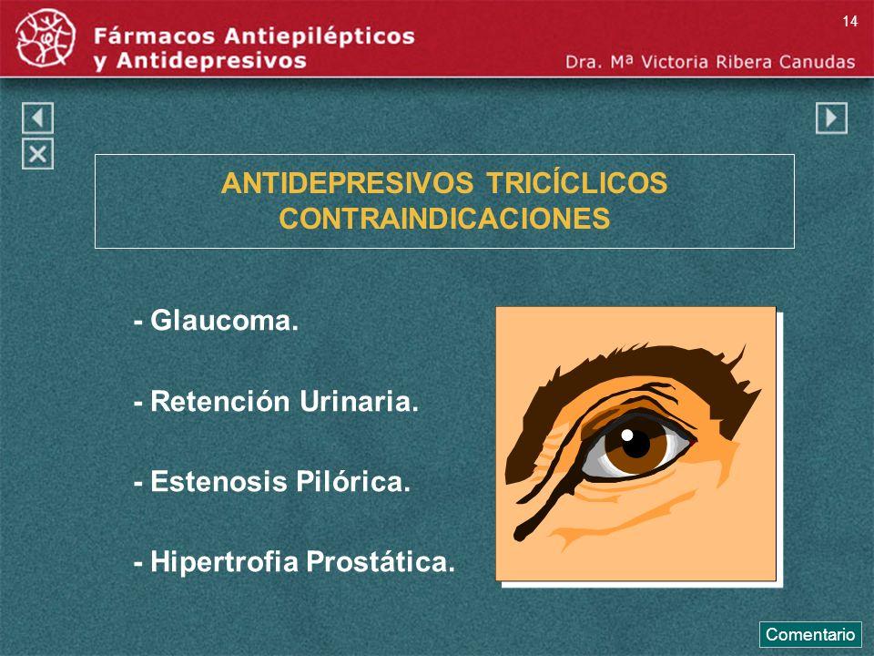 ANTIDEPRESIVOS TRICÍCLICOS CONTRAINDICACIONES - Glaucoma. - Retención Urinaria. - Estenosis Pilórica. - Hipertrofia Prostática. Comentario 14