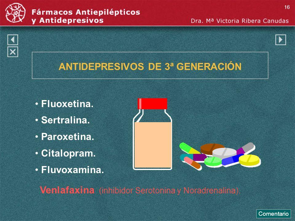 ANTIDEPRESIVOS DE 3ª GENERACIÓN Fluoxetina. Sertralina. Paroxetina. Citalopram. Fluvoxamina. Venlafaxina (inhibidor Serotonina y Noradrenalina). Comen