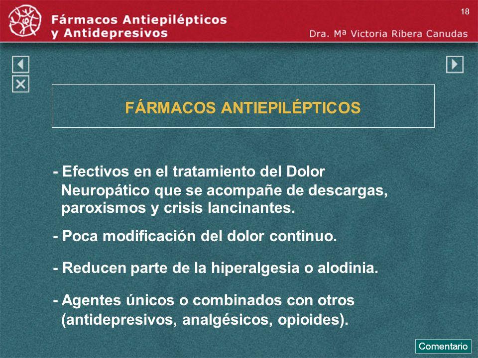 FÁRMACOS ANTIEPILÉPTICOS - Efectivos en el tratamiento del Dolor Neuropático que se acompañe de descargas, paroxismos y crisis lancinantes. - Poca mod