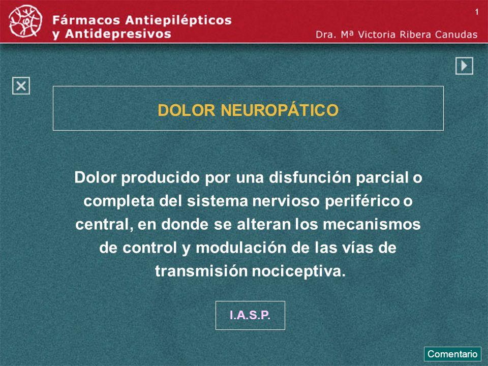 DOLOR NEUROPÁTICO Dolor producido por una disfunción parcial o completa del sistema nervioso periférico o central, en donde se alteran los mecanismos