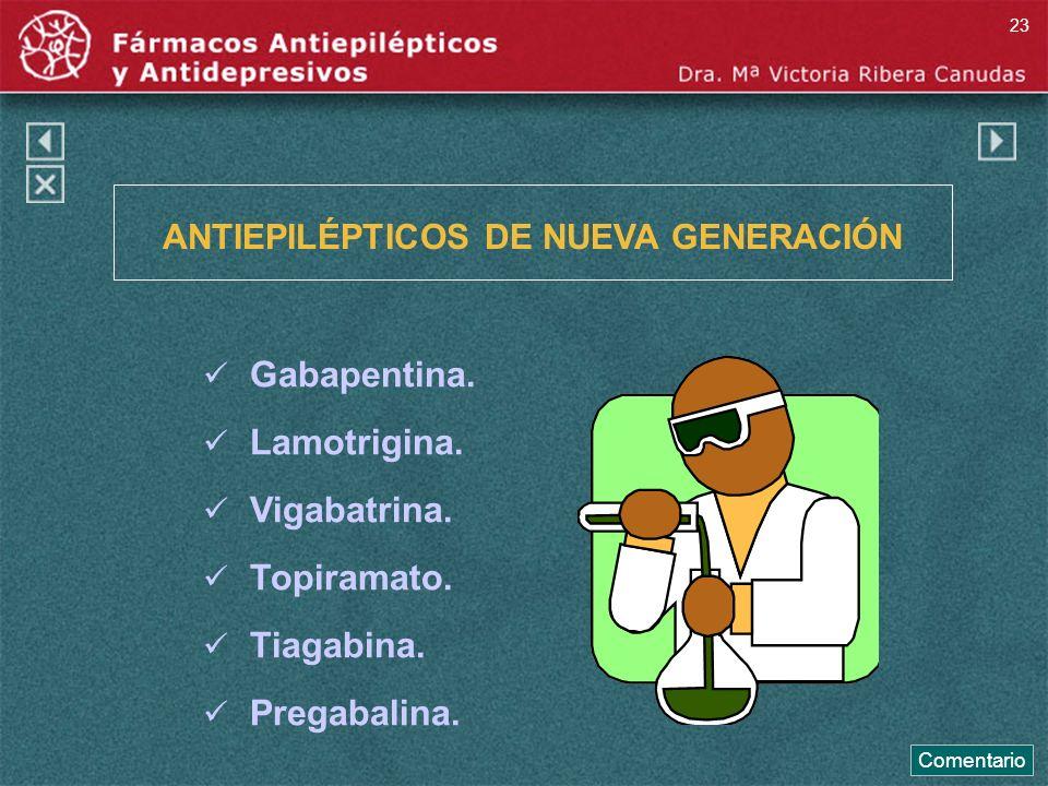 ANTIEPILÉPTICOS DE NUEVA GENERACIÓN Gabapentina. Lamotrigina. Vigabatrina. Topiramato. Tiagabina. Pregabalina. Comentario 23