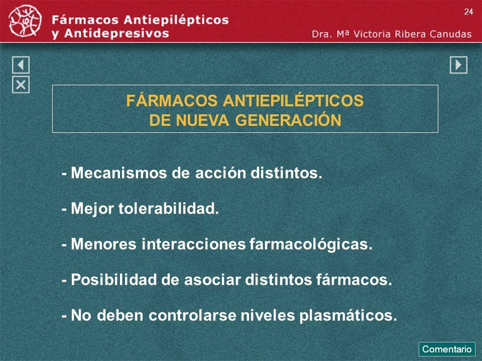 FÁRMACOS ANTIEPILÉPTICOS DE NUEVA GENERACIÓN - Mecanismos de acción distintos. - Mejor tolerabilidad. - Menores interacciones farmacológicas. - Posibi