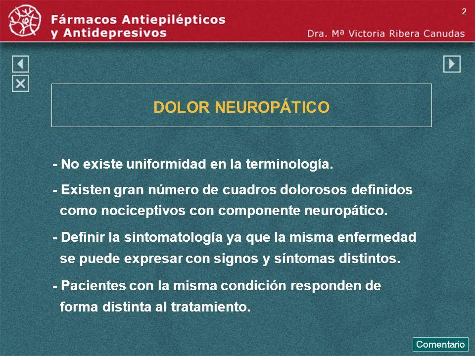 DOLOR NEUROPÁTICO - No existe uniformidad en la terminología. - Existen gran número de cuadros dolorosos definidos como nociceptivos con componente ne