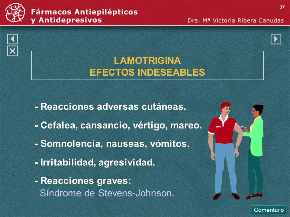 LAMOTRIGINA EFECTOS INDESEABLES - Reacciones adversas cutáneas. - Cefalea, cansancio, vértigo, mareo. - Somnolencia, nauseas, vómitos. - Irritabilidad