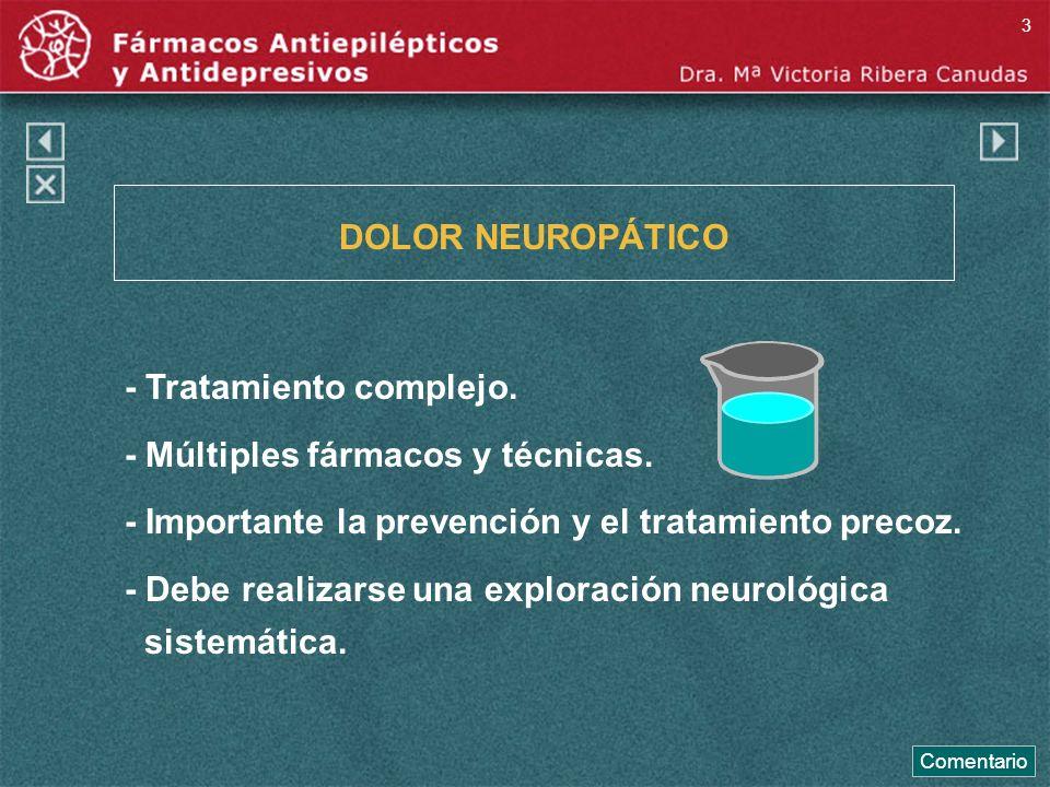 DOLOR NEUROPÁTICO - Tratamiento complejo. - Múltiples fármacos y técnicas. - Importante la prevención y el tratamiento precoz. - Debe realizarse una e