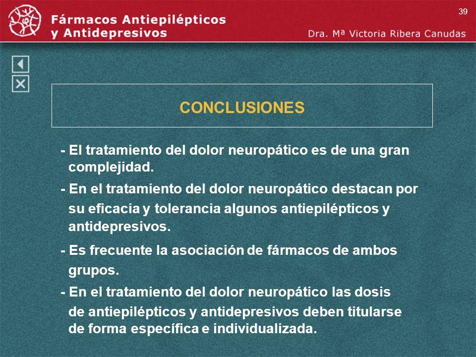 CONCLUSIONES - El tratamiento del dolor neuropático es de una gran complejidad. - En el tratamiento del dolor neuropático destacan por su eficacia y t