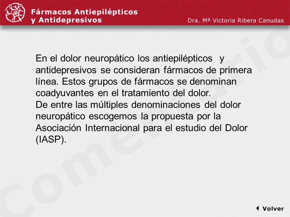 Comentariodiapo2 En el dolor neuropático los antiepilépticos y antidepresivos se consideran fármacos de primera línea. Estos grupos de fármacos se den