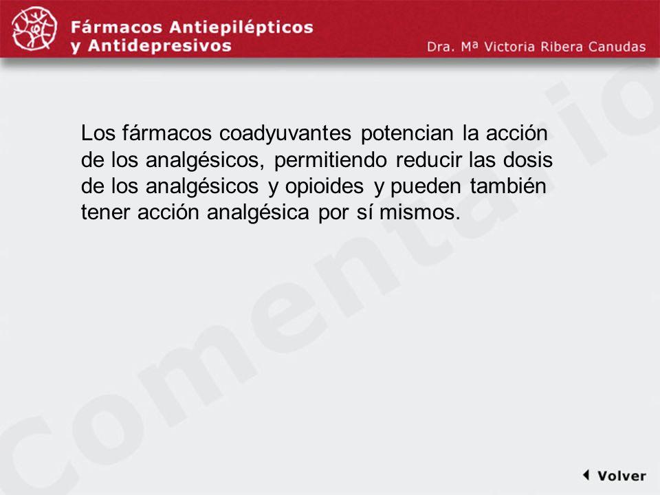 Comentariodiapo5 Los fármacos coadyuvantes potencian la acción de los analgésicos, permitiendo reducir las dosis de los analgésicos y opioides y puede
