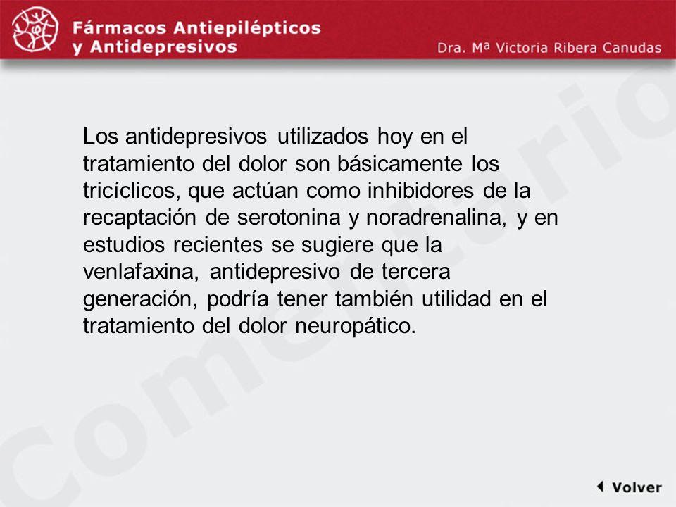 Comentariodiapo6 Los antidepresivos utilizados hoy en el tratamiento del dolor son básicamente los tricíclicos, que actúan como inhibidores de la reca