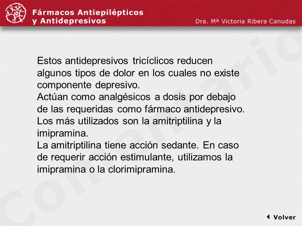 Comentariodiapo7 Estos antidepresivos tricíclicos reducen algunos tipos de dolor en los cuales no existe componente depresivo. Actúan como analgésicos