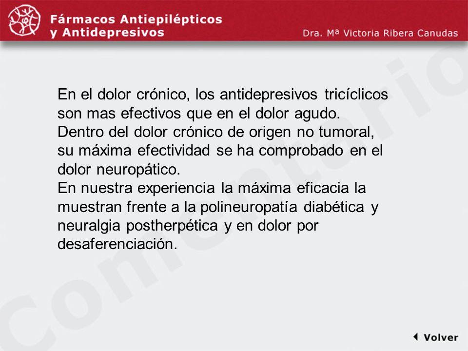 Comentariodiapo8 En el dolor crónico, los antidepresivos tricíclicos son mas efectivos que en el dolor agudo. Dentro del dolor crónico de origen no tu