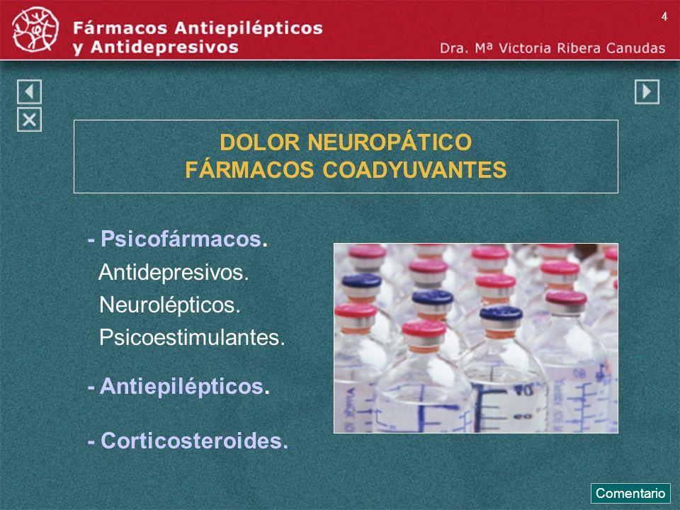 DOLOR NEUROPÁTICO FÁRMACOS COADYUVANTES - Psicofármacos. Antidepresivos. Neurolépticos. Psicoestimulantes. - Antiepilépticos. - Corticosteroides. Come